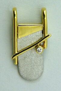 Anhänger, Kettenanhänger,  Modern Art, mit Zirkonia in bicolor Gold 333/ooo