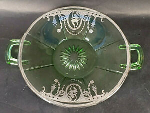 Green Depression Glass Plate w/Handles Decorated Sterling Overlay Cameo  mAAB