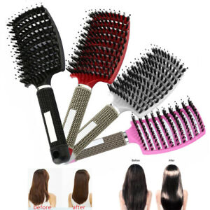 Soft Bristle Nylon Hair Brush Women Scalp Massage Comb Curly Detangle for Salon