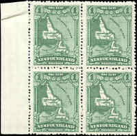 Mint NH Canada Newfoundland 1929 Block of 4 F-VF 1c Scott #163 Pictorial Stamps