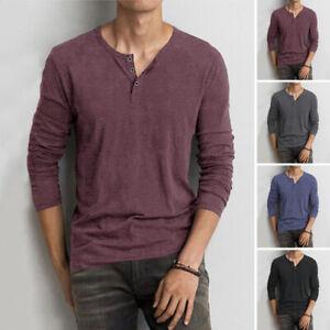 Mens Long Sleeve V-Neck Shirt Top Henley Grandad Collarless Button T shirt Tee
