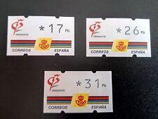 SELLOS ESPAÑA MNH 1992 JUEGO 3 ATM KLUSSENDORF GRANADA 92