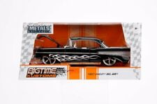 1957 CHEVROLET BEL AIR BLACK WITH FLAMES 1/24 DIECAST CAR MODEL BY JADA 99965