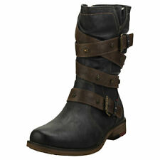 Mustang Winter Ankle Boots Womens Graphite Synthetic Biker Boots