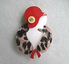Classy Red & Black Faux Fur Lucite? Art Deco Lady Brooch/Pin
