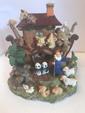 """Noah's Ark Wind Up Rotating Music Box plays """"Talk to The Animals"""" 7 inches tall"""