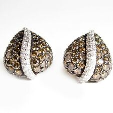 Earrings 14k white or yellow gold 4.5ct Brown & Clear Diamonds Pierced or Clips