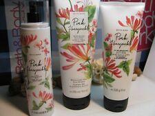Bath and Body Works 3 NEW ~ Pink Honeysuckle ~ Mist, Body Cream ,Body Wash