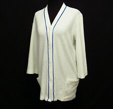 New listing Vintage DeWeese Pool Cover Up Robe Button Front White Terry Cloth Womens Sz M