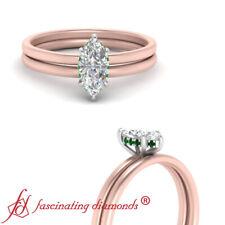 .75 Carat Marquise Cut Diamond And Emerald Gemstone 2 Tone Gold Halo Wedding Set