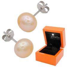 8mm Perlen Silber Ohrstecker Ohrstick aus 925 Sterlingsilber +LED Box - pfirsich