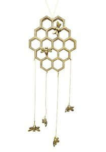 Gold Bee Wall Hanging Mobile Decorative Hanger Decoration Honeycomb