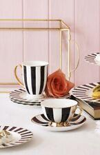 Bombay Duck Striped Mug Black White Gold, Gift Boxed China Tea Cup Stripe Stripy