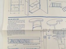 Vintage Kidney Bean Coffee End Tables Woodworking Pattern Modern Handcraft 1971
