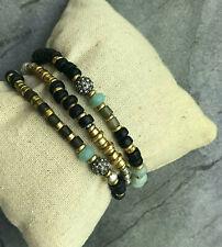 Armband 3er Set Stella & Dot Holzperlen, Glasperlen, Messing