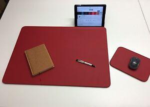 Schreibtischunterlage Schreibtischauflage Mouspad echt Leder rot Schreibtisch