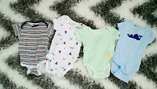 CARTER'S AND HONEY BUNNY BABY SET OF 4 LOT ONESIES ONE PIECE 100% COTTON MULTI
