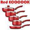 Red Ecocook Pan Frypan Saucepan Set Non Stick White Ceramic Coating & Glass Lids