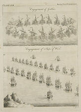 1765 ANTIQUE PRINT ~ NAVAL ENGAGEMENT OF GALLIES SHIPS WAR GALLEY
