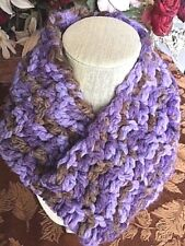 XTRA BULKY Lavender & Brown COWL-Crocheted-Neck Warmer-Machine Wash & Dry