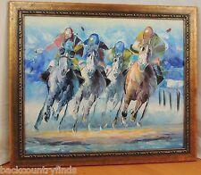 Tom Horse Race Racing Original Art Acrylic Painting Equestrian Horses Jockeys