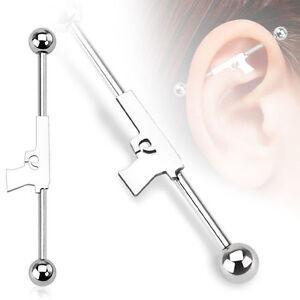 New Surgical Steel Novelty Gun Scaffold Industrial Cartilage Piercing Bar Stud