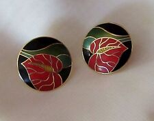Nature Plant Red Lily Earrings Signed Laurel Burch Cloisonne Round