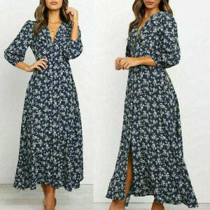 Womens Bodycon Daily Floral cosy Boho Beach Summer Button UK Maxi Dress
