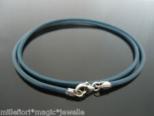 """2mm Blue Leather & Sterling Silver Necklace Or Wristband 16"""" 18"""" 20"""" 22"""""""