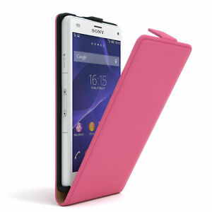 For Sony Xperia Z3 Compact Flip Case cover Faux Leather Protection Phone Pink