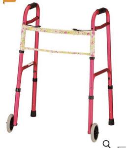 NOVA Pink And Floral Folding Adjustable Walker with 5″ Wheels