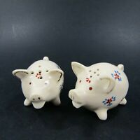 Vintage Salt Pepper Shakers Set Mini Painted Floral Pigs Red Blue Japan   *377