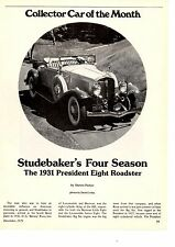 1931 STUDEBAKER PRESIDENT EIGHT ROADSTER  ~  5-PAGE ARTICLE / AD