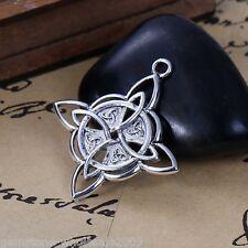 5PCs Silver Tone Celtic Knot Rhombus Pendant Necklace Jewelry 3.8x3.4cm GW