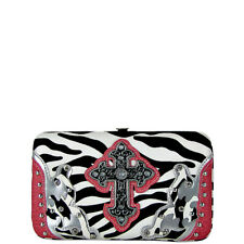 PINK ZEBRA WESTERN CROSS FLAT THICK WALLET COUNTRY WESTERN BLING BIFOLD FASHION