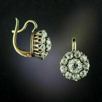 2.0Ct Round Cut Diamond Antique Flower Drop/Dangle Earrings 14k Yellow Gold Over