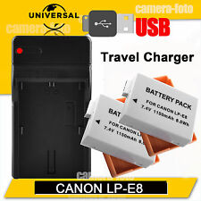 2X Battery + USB Charger For Canon LP-E8 EOS 700D 650D 600D 550D