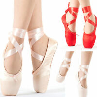 Pink Gilrs Ballet Dance Toe shoes Professional Ladies Satin Pointe Shoes Silk