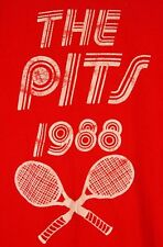 Vintage 1988 THE PITS Tennis Racket T-Shirt RED Large L USA Cotton
