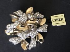 Rhinestone Pin/Brooch Missing Pin Catch Ciner Signed Vintage Gold/Silver Tone