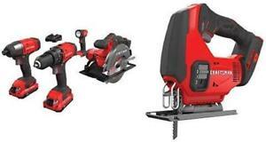 CRAFTSMAN Cordless Drill Combo Kit V10, 4 Tool & Jig Saw (CMCK401D2 & CMCS600B)*