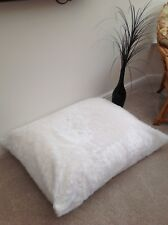 Beanbag floor cushion filled white faux fur large 3cf size new