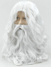 Father Christmas Xmas Wizard Old Man Fancy Dress SANTA CLAUS WHITE WIG & BEARD