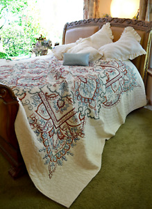 SOFT SURROUNDINGS MEDAILLE ARTISANAL FLORAL EMBROIDERED QUILT KING  PLUS SHAM
