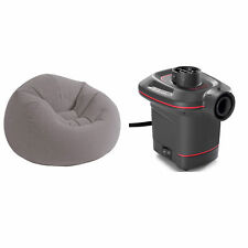 Intex Grey Inflatable Beanless Bag Chair and 12V Quick-Fill Electric Air Pump