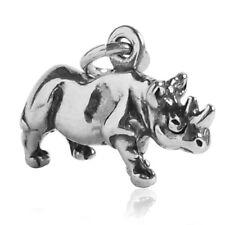 Rhino Charm Sterling Silver .925 Rhinoceros Africa Safari Animal Small