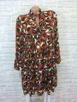 Hippie Blogger Hängerchen Kleid Tunika Volant Print 38 40 42 Orange K431 Italy