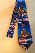 """New Mens US Marines Neck Tie IWO JIMA Monument Blue Steven Harris 58""""L 3.8""""W"""