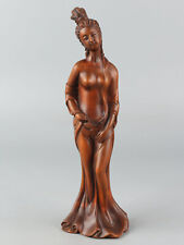 Chinese Exquisite Hand-carved beauty Carving Boxwood statue