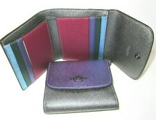 Coach Small Wallet Multi Color Block Metallic Leather Trifold F55645 NWT $150
